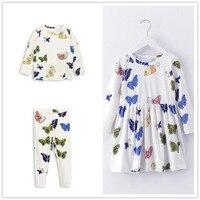 2018 neue Frühjahr 2-6 Jahre Mädchen T-shirt Kinder T-shirt Baby mädchen Marke Hosen Kinder Kleid Langarm Nette Schmetterling Druck Sets