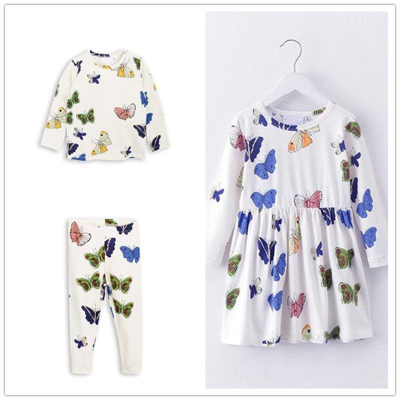 New Autumn 1-6 Years Girls T-shirt Kids Tees Baby Girl Leggings Pants Children Dress Long Sleeve Cute Butterfly Printing Sets 1 2 3 4 years cute baby girl clothes sets for children autumn long sleeve rabbit jacket striped pants toddler girls baby suit