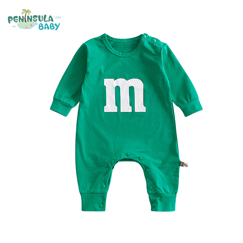 Long Sleeve Newborn Baby Rompers Cartoon Cute Letter M Back Face Girl Boy Infant Jumpsuit Kids Clothing Casual Soft Baby Produce baby romper newborn infant long sleeve cartoon animals rompers cotton wool baby clothing baby boy girl cute one pieces jumpsuit