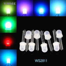 DC5V Diffuus ronde hoed RGB LED met WS2811 PL9823 APA106 chipset binnen, 5mm 8mm Neo pixel Arduino led chips RGB full color