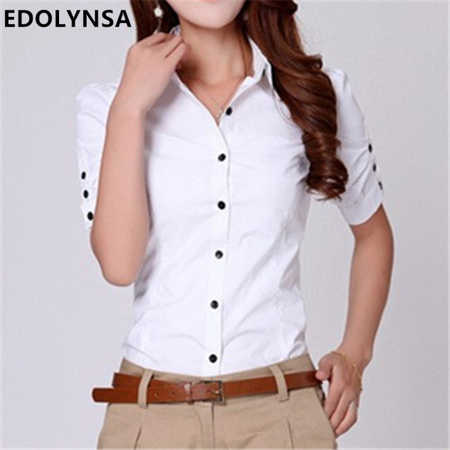 f7fb7f76668 Brand Women Tops Plus Size Clothing Cotton Button Down Short Sleeve Shirts  Formal Tunic White Blouse Top Blusas Feminina  B013
