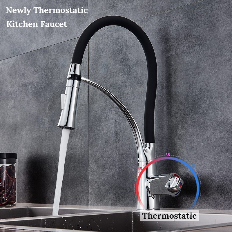 Thermostatic Chrome Kitchen Sink Faucet Swivel Pull Down Kitchen Faucet Sink Tap Mounted Deck Bathroom Hot and Cold Water Mixer