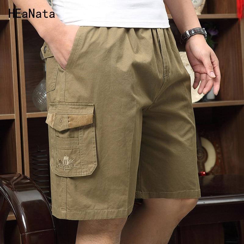 Shorts Men Summer Casual Bermuda Mens Short Pants Baggy Multi Pocket Military Trousers Green Loose Overalls Work Short Pants 5XL