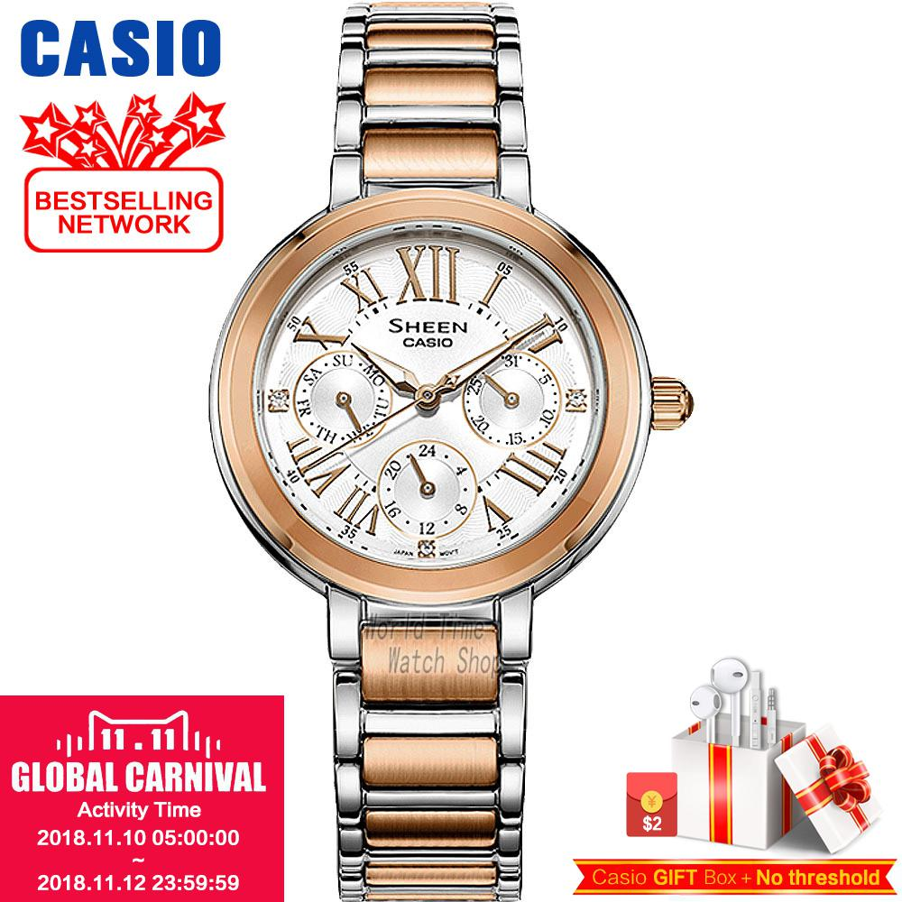 Casio watch Fashion business urban women table SHE-3034SPG-7A SHE-3034D-7A SHE-3034GL-4A SHE-3034GL-7B SHE-3034SG-7A cbaooo dual driver earphone and wired in ear bass stereo earbuds headset with mic headphone hifi noise cancelling earphones