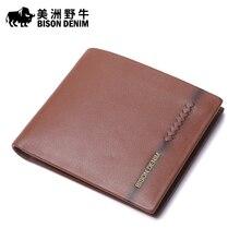 2016 New BISON DENIM High Quality Men Wallet Genuine Leather Cowhide Business Card Holder Wallet Men's Wallet Free Shipping