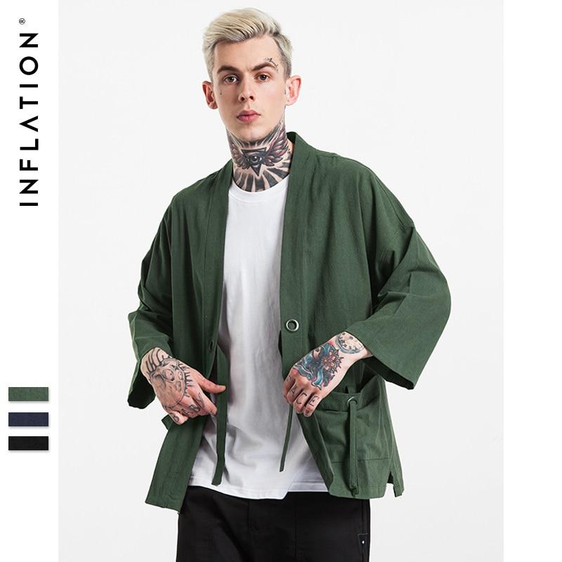 INF Hommes | 2016 Nouveau Mode streetwear hommes kimono japonais chemise de Chanvre Hommes chemise 003W16