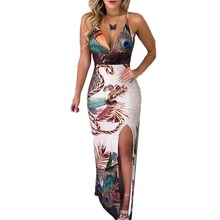 Peacock Feather Printed Maxi Dress Women Summer Slit Spaghetti Strap V Neck Sexy Dress Sexy  Club Formal Elegant Party Dress