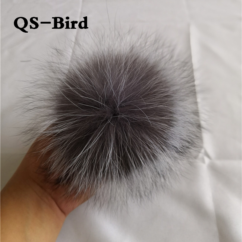 DIY 15-16cm big Fox Fur pompoms Elegant Fur balls for knitted hat cap winter   beanies   and keychain and scarves real fur pom poms
