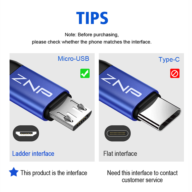 Micro USB Cable Fast Charging For Android Mobile Phone,  Data Transfer