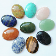 Fashion Assorted 30*40mm Natural Oval stone beads charms Mixed  CAB CABOCHON for jewelry making 10pcs/lot
