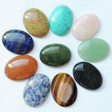 Thời trang Các Loại 30*40mm Tự Nhiên đá Hình Bầu Dục hạt charms Hỗn Hợp CAB CABOCHON đối với trang sức làm 10 cái/lốc