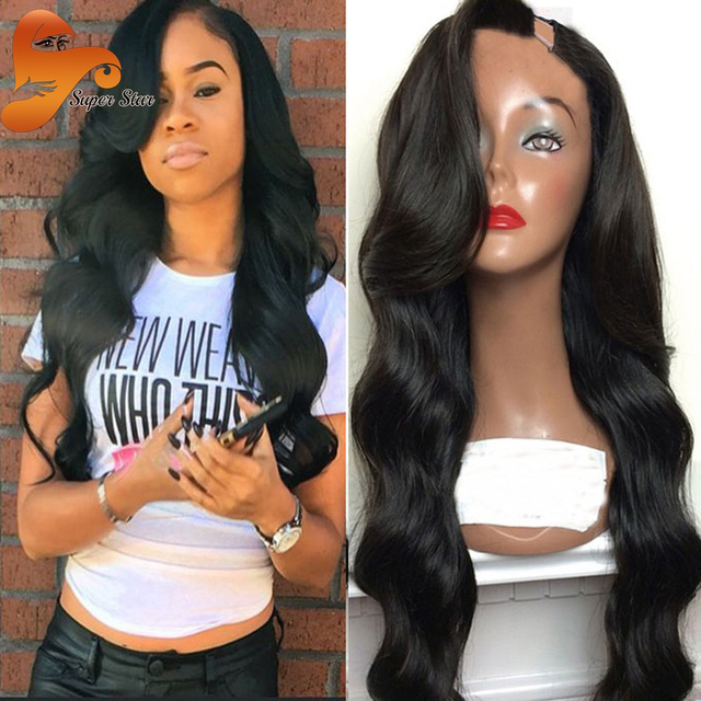 1e6623151 7A Brazilian Body Wave U Part Human Hair Wigs Unprocessed Virgin Hair U  Part Wig Wet And Wavy UPart Wigs For Sale Bleached Knots