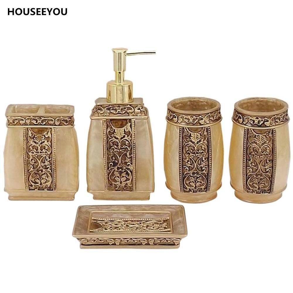 Gold bathroom sets - 5pcs Set Bathroom Accessories Products European Rome Aristocracy Bath Sets Lotion Dispenser Bath Resin Cup