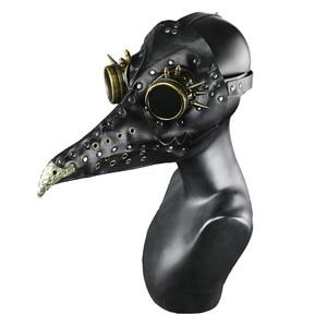 Image 4 - Steampunk Plague Doctors Mask PU Leather Long Nose Mask Cosplay Black Beak Mask Costume Props