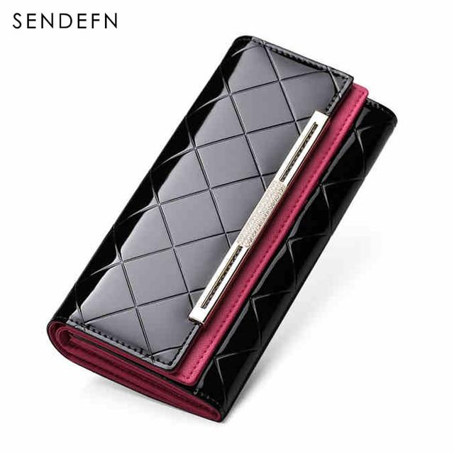 Sendefn embreagem carteira feminina carteira de couro de patente de luxo lady partido bolsa hot sale carteira mulheres bolsa das mulheres das mulheres brilhantes bolsa
