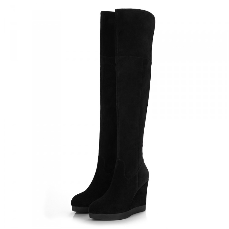 free shipping winter wedges Nubuck Genuine Leather over knee boots black boots