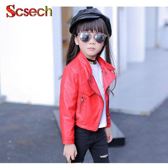 3699d7e93c17 3 Colors Autumn Kids Jacket PU Leather Girls Jackets Clothes ...