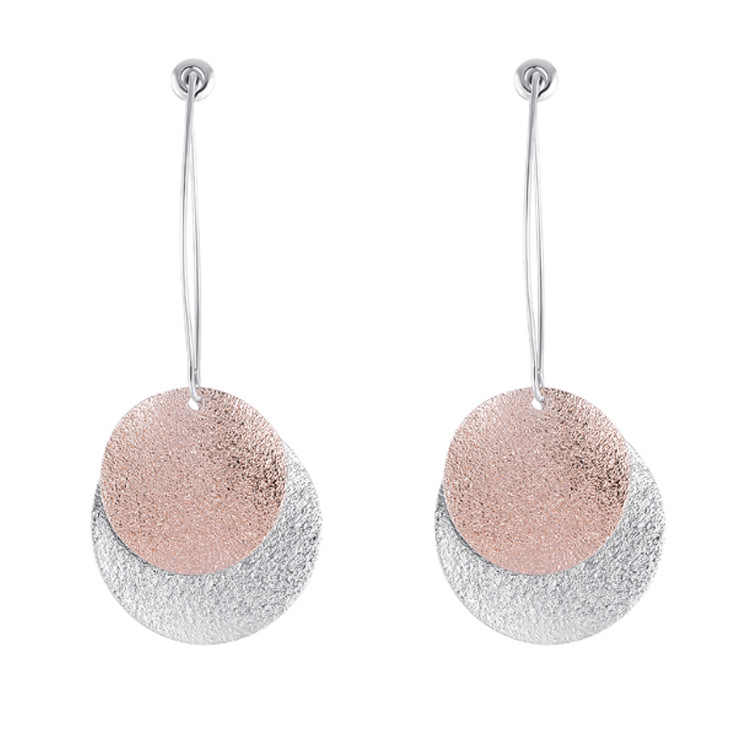 Wild Matte Texture Round Earrings Simple Temperament Contrast Color Earrings After Hanging Earrings Statement Earrings Brincos