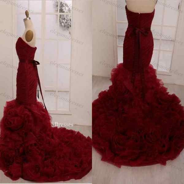 Buy hot sale organza ruffled court train for Where to buy red wedding dress