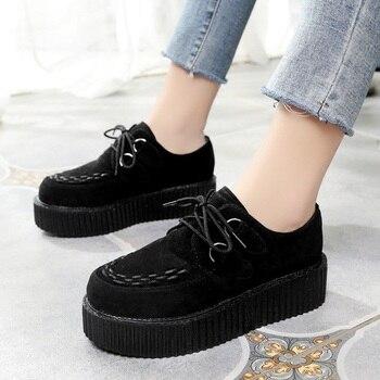 b41741efd11 LAKESHI Creepers zapatos de mujer talla grande 41 zapatos de plataforma  plana con cordones de punta redonda zapatos planos de mujer sólidos zapatos  de mujer