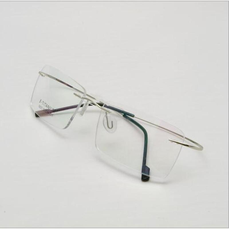 Rimless Titanium Glasses Frame Men Ultralight Square Prescription ...