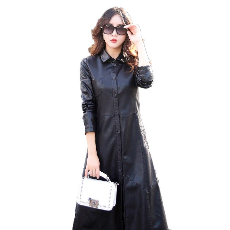 Outwear En Long Poitrine Femmes Super Élégant Manteau De Grande Mode Taille Bouton bourgogne 2017 Nouvelle Unique Arrivée Simple Outcoat Cuir Veste Noir wqxI7tFAE