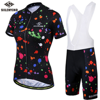 SIILENYOND 2018 Summer Cycling Jersey Set Breathable Racing Sport Bicycle Jersey Cycling Clothing Short Wear MTB
