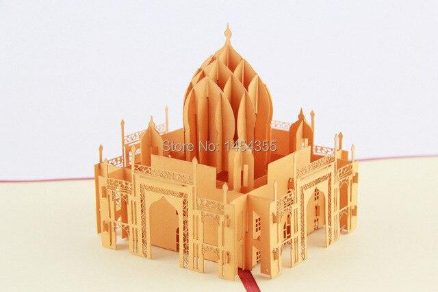 3D Taj Mahal Pop up cards Custom Gift cards Creative Kirigami Origami Paper Crafts Business cards10pcs