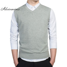 Aleirmires Mens Knitted Vest Sweater 2017 Autumn Winter Business Casual V Neck Solid Color Sleeveless Men's pullovers Sweaters
