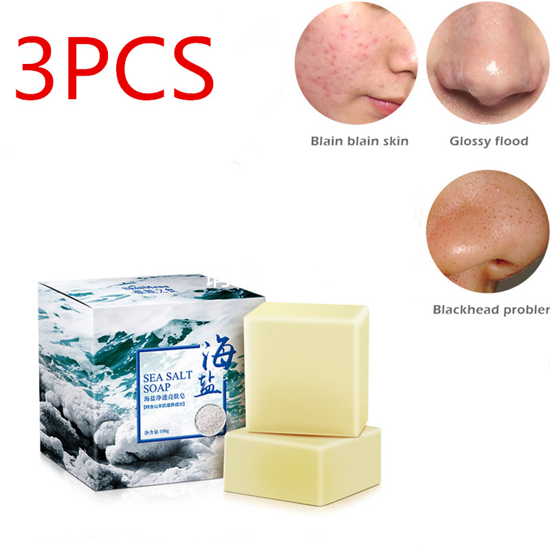 3PCS Sea Salt Soap Pimple Pore Acne Treatment Cleaner Moisturizing Goat Milk Soap Face Care Wash Basis Soap Savon TSLM2