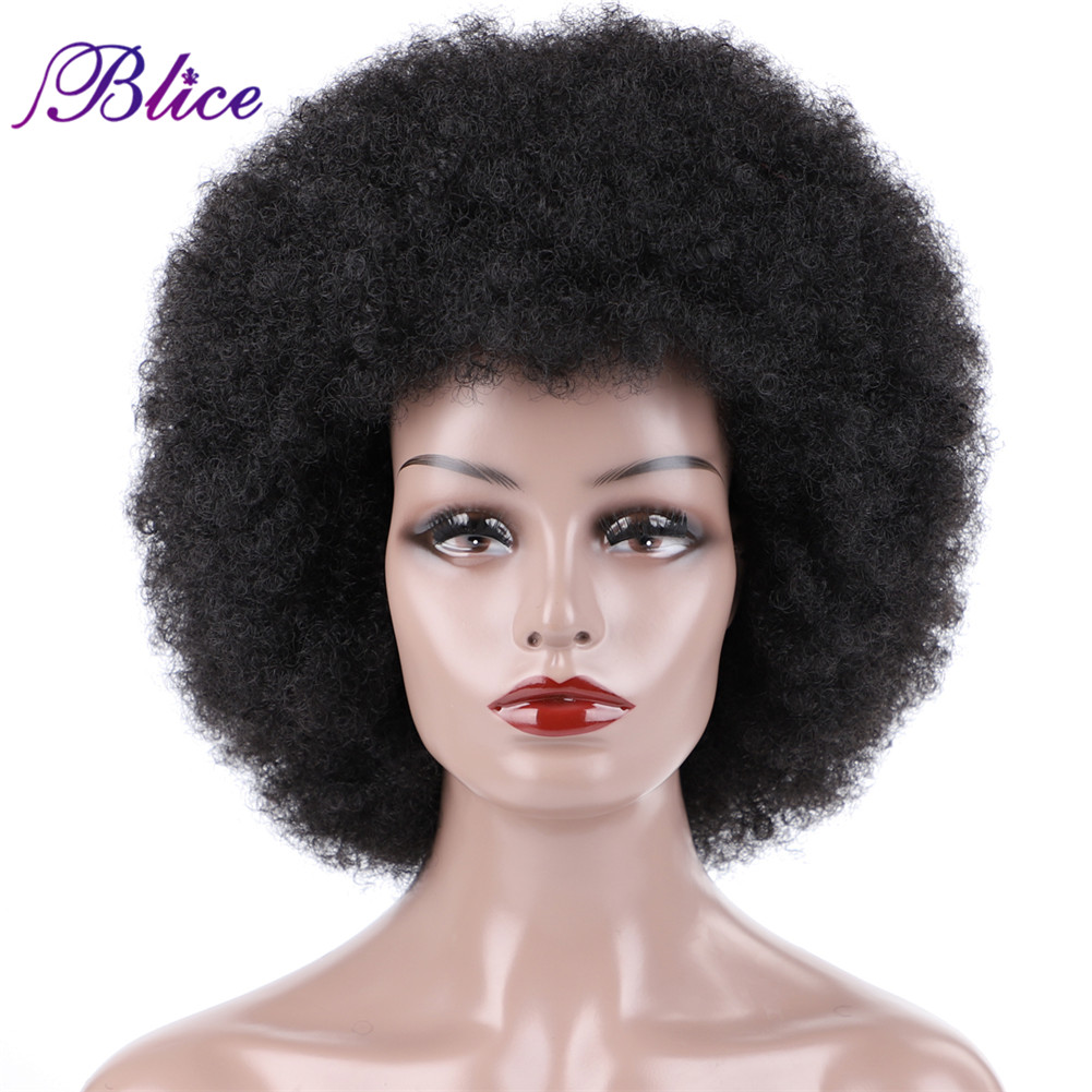 Blice Afro Kinky Curly Synthetic 16 Inch Wigs Kanekalon Heat Resistant Africa American Cosplay Daily Big Hair WigSynthetic None-Lace  Wigs   -