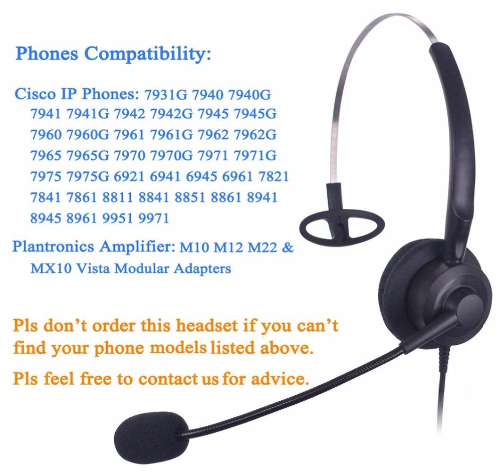 Wantek Mono Call Center Headset headphone with Mic for Cisco IP Phones 7942  and Plantronics M10 MX10 Vista Modular Adapters