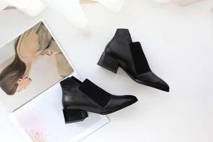 Image 3 - Botas modelo oxford, populares, botas de couro genuíno, macio, clássico, bota cano curto l83