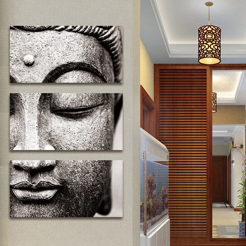 HTB1b84MoCYH8KJjSspdq6ARgVXaT Canvas painting Wall Art pictures Gray 3 Panel Modern Large Oil Style poster Buddha Wall Print Home Decor for Living Room