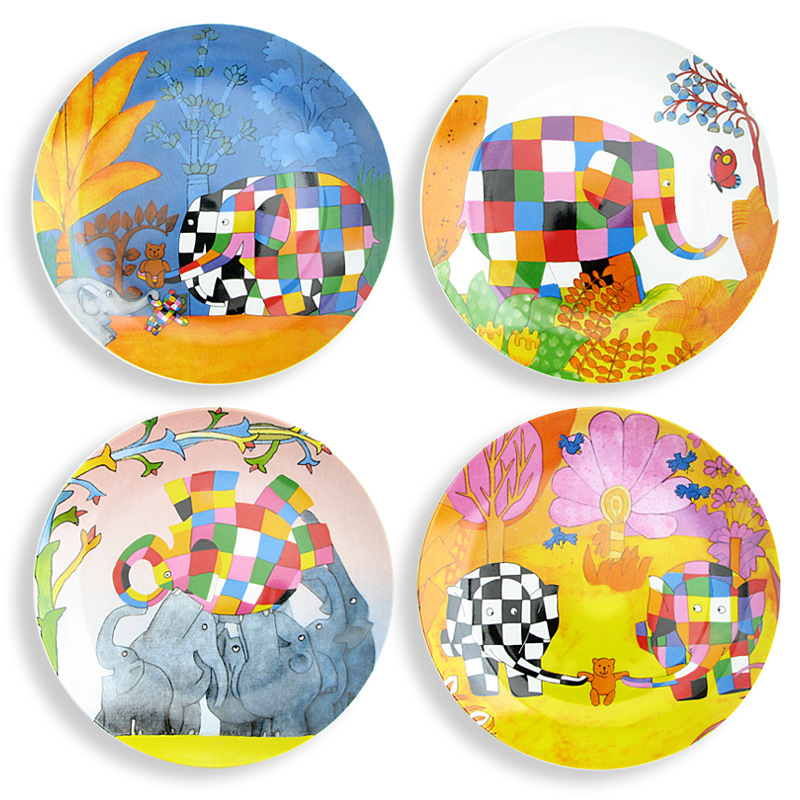 Terrific Us 46 54 5 Off Ceramic Abstract Painting Flat Plate Kids Colorful Tableware Set Cartoon Animals Dish Dinner Plate Christmas Gift 4Pcs Set In Dishes Home Remodeling Inspirations Basidirectenergyitoicom