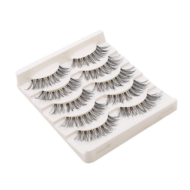 5Pair/Box Eyelashes 3D Artificial Fiber Long Lasting Lashes Women Volume Eyelashes Extension False Eyelashes 2