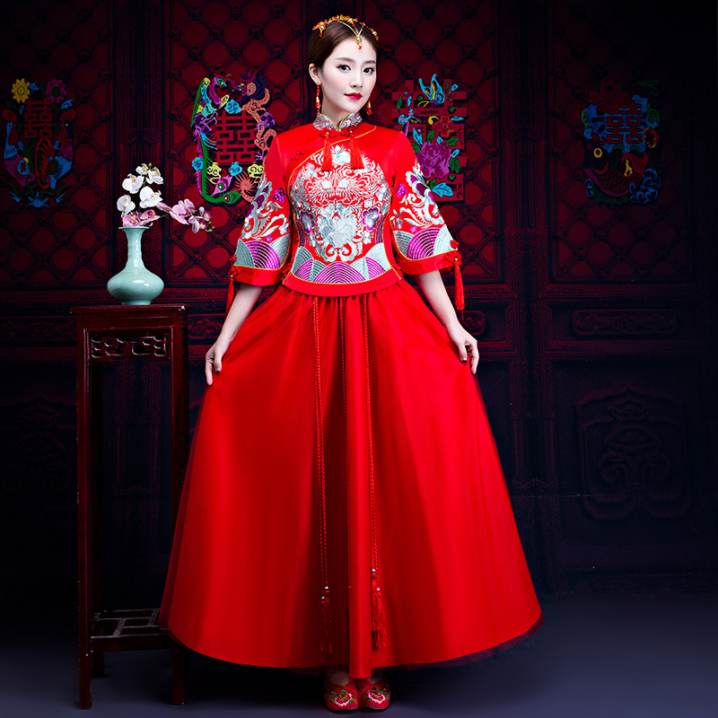 Femmes Phoenix broderie Style Oriental robes chine magasin de vêtements chinois traditionnel robe de mariée Cheongsam Long Qipao