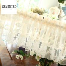 Cortinas de tule curto para cozinha terminado branco flutuante tule puro fio haste cortina bolso para armários cortina curta para café