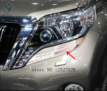 Headlights Lamp Eyebrow Fit For Toyota Prado 2010-2013 2014 2015 Headlights Frames Decoration Cover Head Lamp Trim Exterior