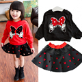 2016 Retail Cartoon Minnie children clothing set 2 pcs suit girl's dot dress tops shirts + skirt suits outfits Free shipping