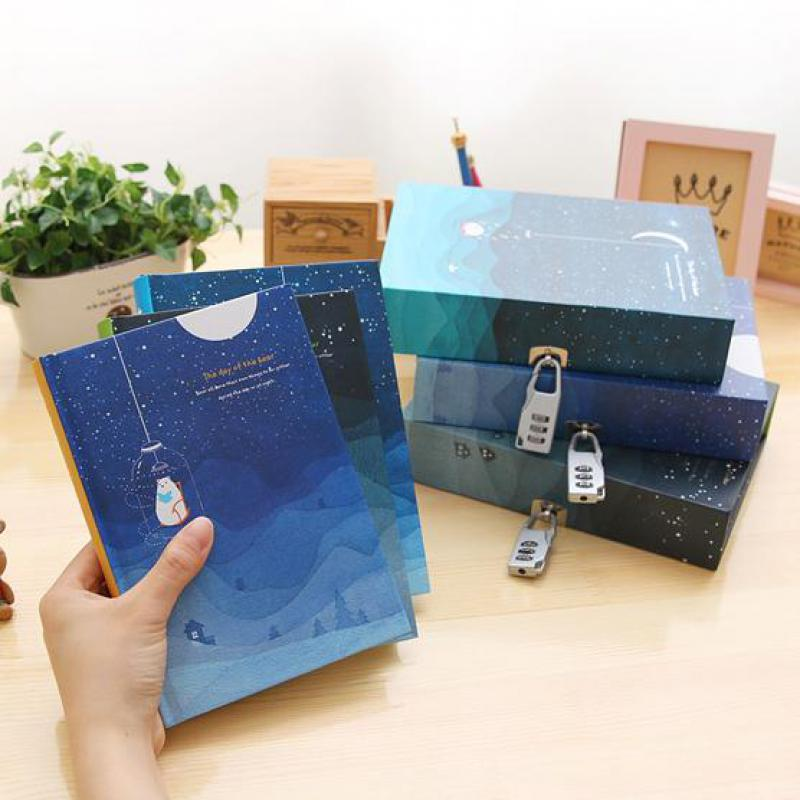 Blue Starry Sky Diary With Lock Retro Note Book Boxed Hardcover Notebook With Weekly Plan Blank Grid Paper School Kid Girls Gift starry sky diary with lock vintage notebook notepad paper 144 sheets office school supplies note book gift
