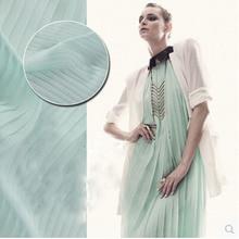 Midsummer memory summer all-match essential classic Pleated Chiffon fabric mint green