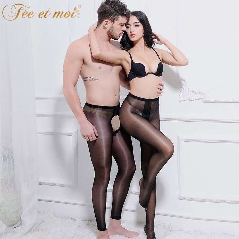 2017 New Sexy Transparent Shiny Pantyhose T Open Crotch -1051