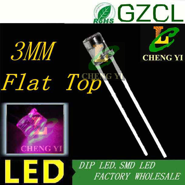 High Flux Led 3mm Led Diode Pink 15-20ma Led Bulb Two-pin 3.0-3.5v Pink Dip Led 1000pcs Free Shipping