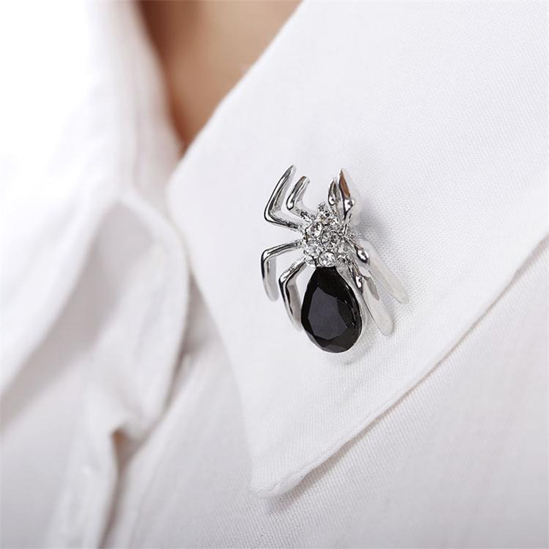 2016 New Costume Rahinestone Spider Brooches Fashion Crystal Brooch Pins for Women Jewelry Gold Silver Plated