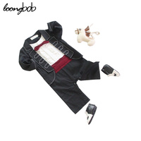 Vintage Designer Baby Boy Gentleman Rompers Newborn Red Bow Tie Jumpsuit Infant Long Sleeve Suit Baby Clothes Outfits for Boys