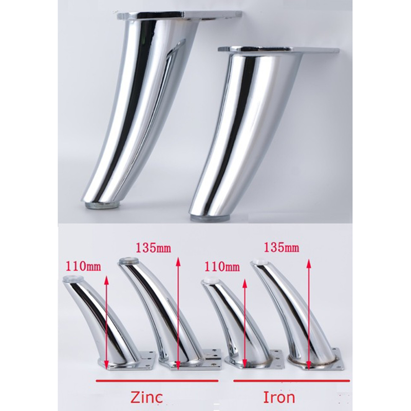 4Pcs/Lot Zinc Iron Inclined Leg Feet Chrome Sofa Furniture With Screws