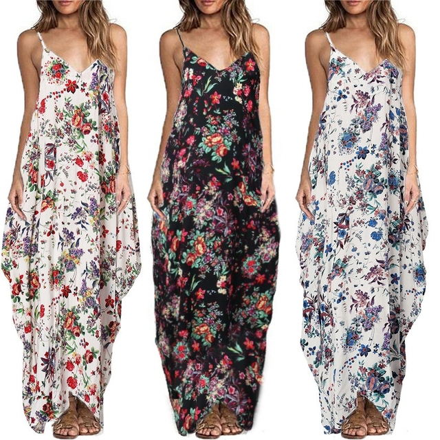 2ac5dff36298 ZANZEA Summer Dress Sexy Women V Neck Straps Sleeveless Floral Print Loose  Casual Boho Beach Maxi Long Dresses Vestidos S-3XL