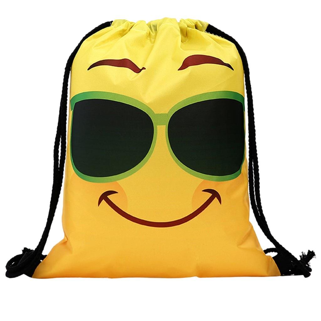 Funny Cute Drawstring Bag for women Men Unisex Backpacks Printing Emoji Bag Book Storage Drawstring Backpack