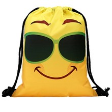 Funny Cute Drawstring Bag for women Men Unisex Backpacks Printing Emoji Bag Book Storage Drawstring Backpack sac a dos ficelle